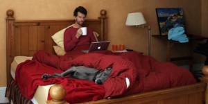 nieuwe werken, thuis, laptop, bed, nieuw organiseren